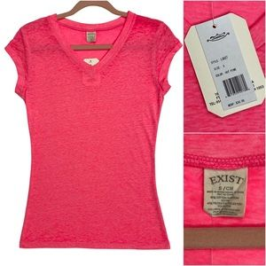 Exist Hot Pink Short Sleeve V-Neck T-Shirt NWT